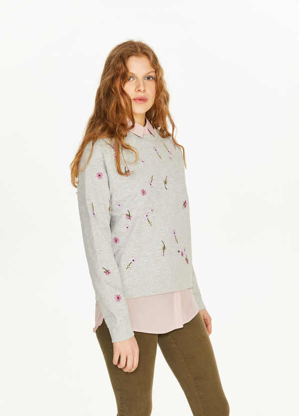 Floral embroidery cotton and viscose sweatshirt