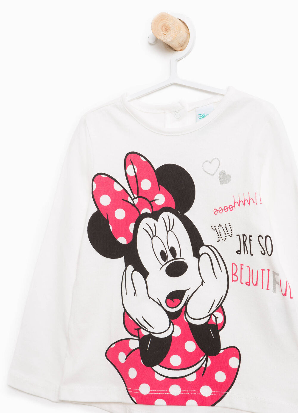 Cotton T-shirt with glitter Minnie Mouse print