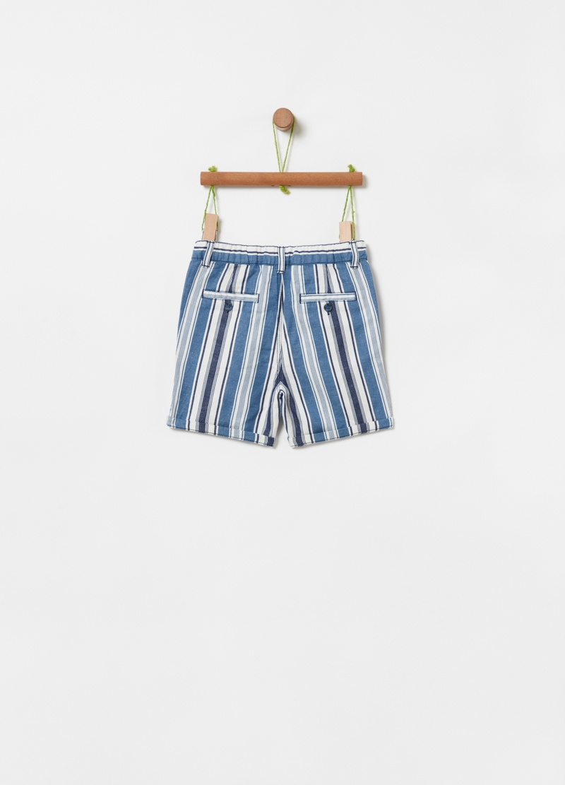 Striped cotton and linen shorts image number null