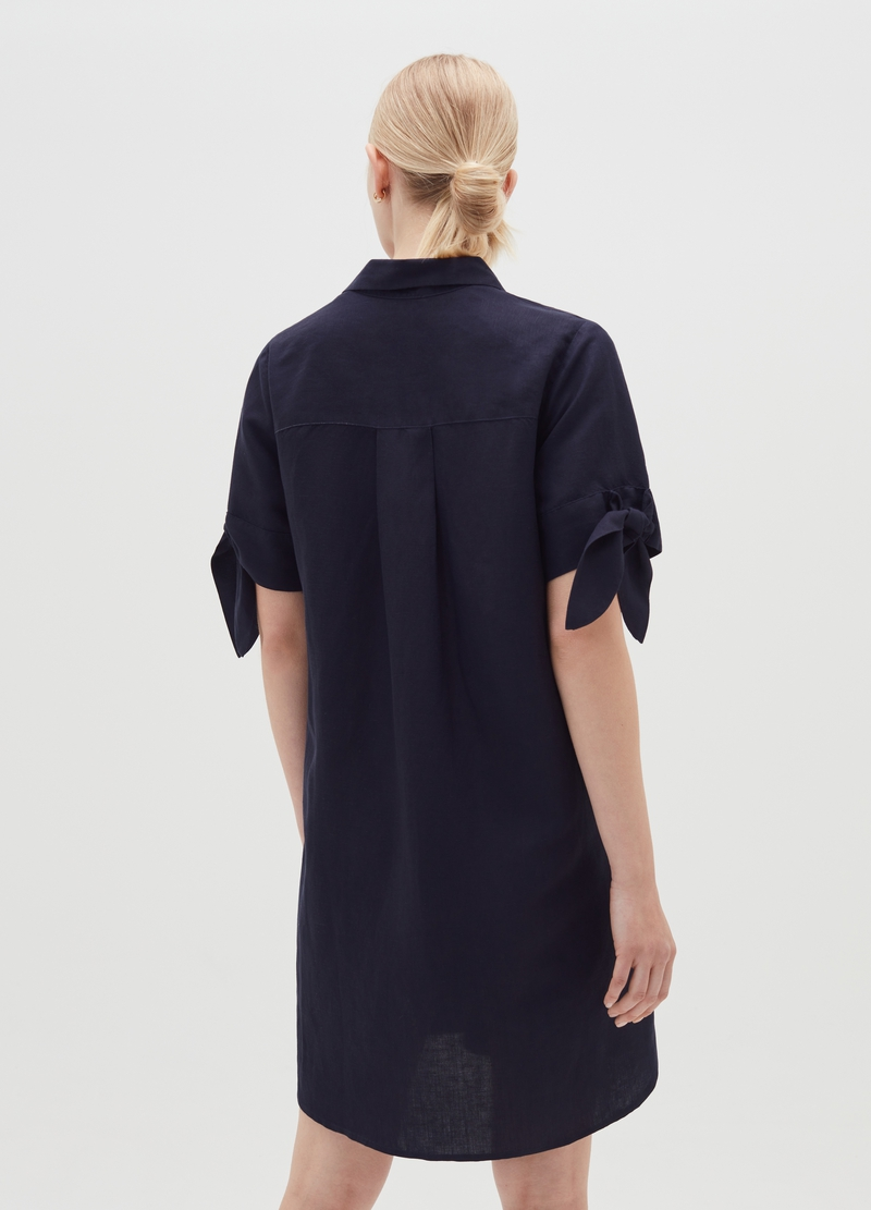 Short shirt dress in linen and viscose image number null