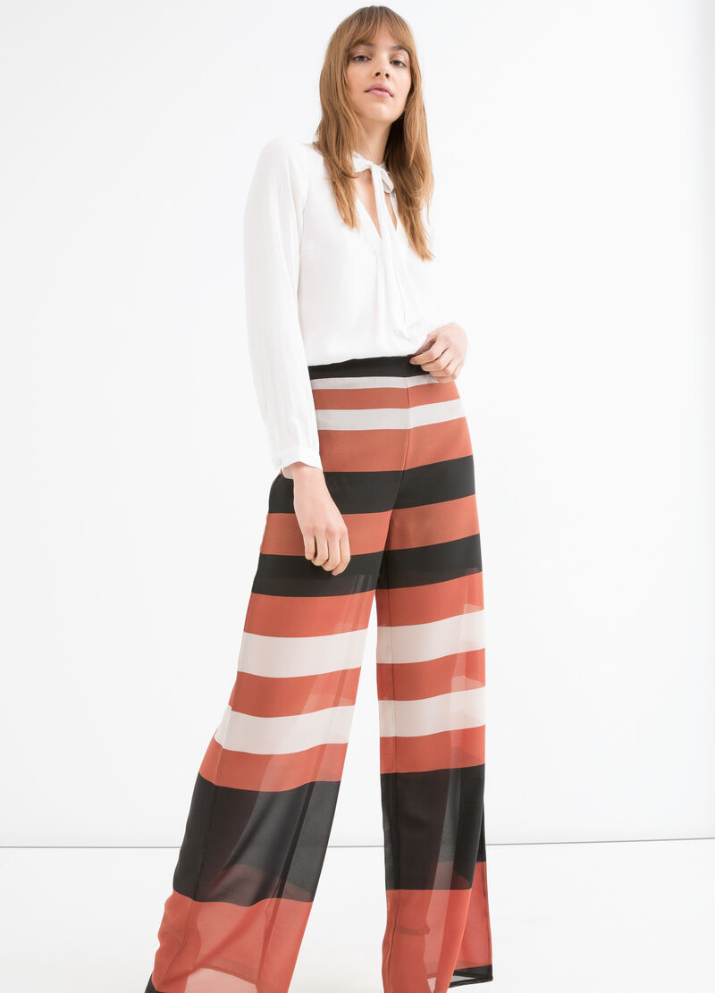 Wide leg trousers with striped print