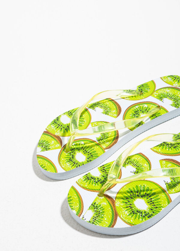 Rubber flip flops with fruit pattern | OVS