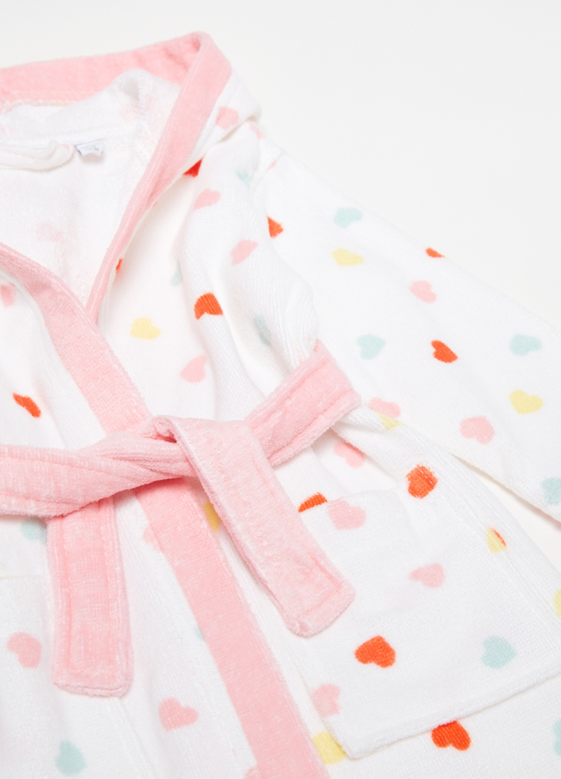 Cotton bathrobe with hearts pattern image number null