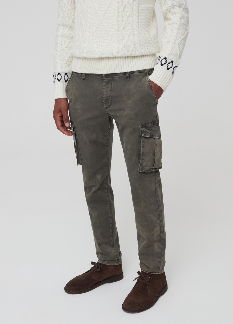 Mis-dyed-effect cargo trousers image number null