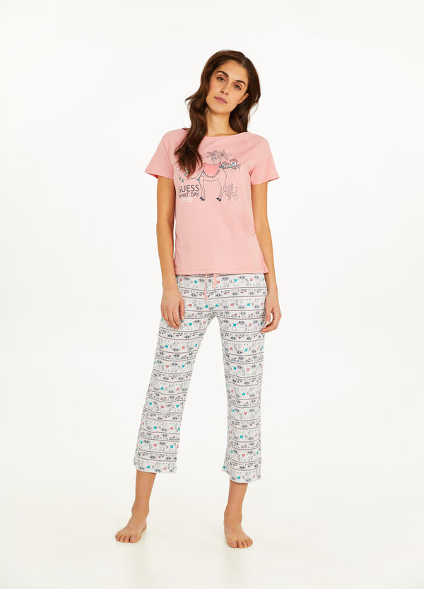 Camel pattern cotton pyjamas