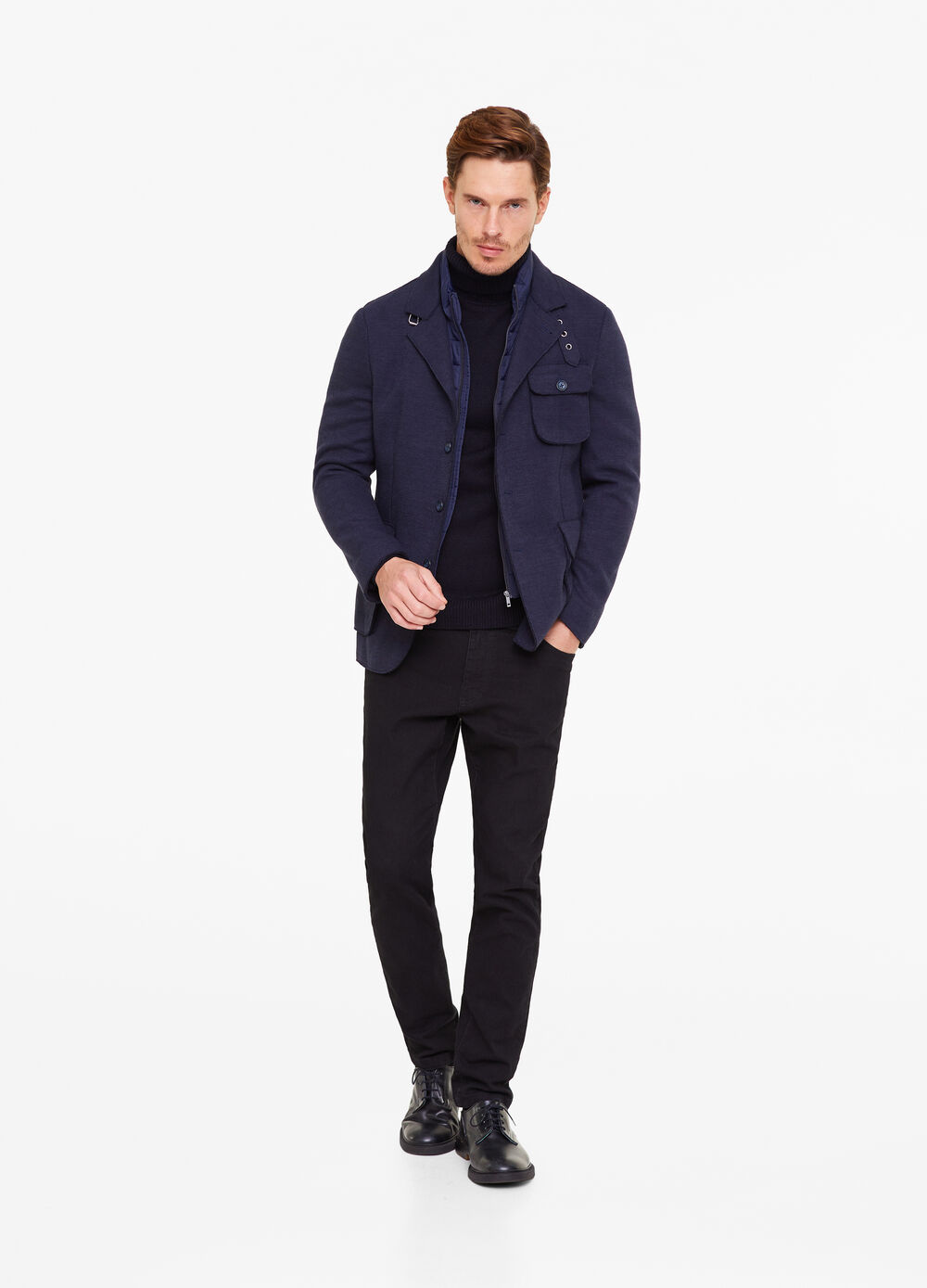 Three-button solid colour caban jacket