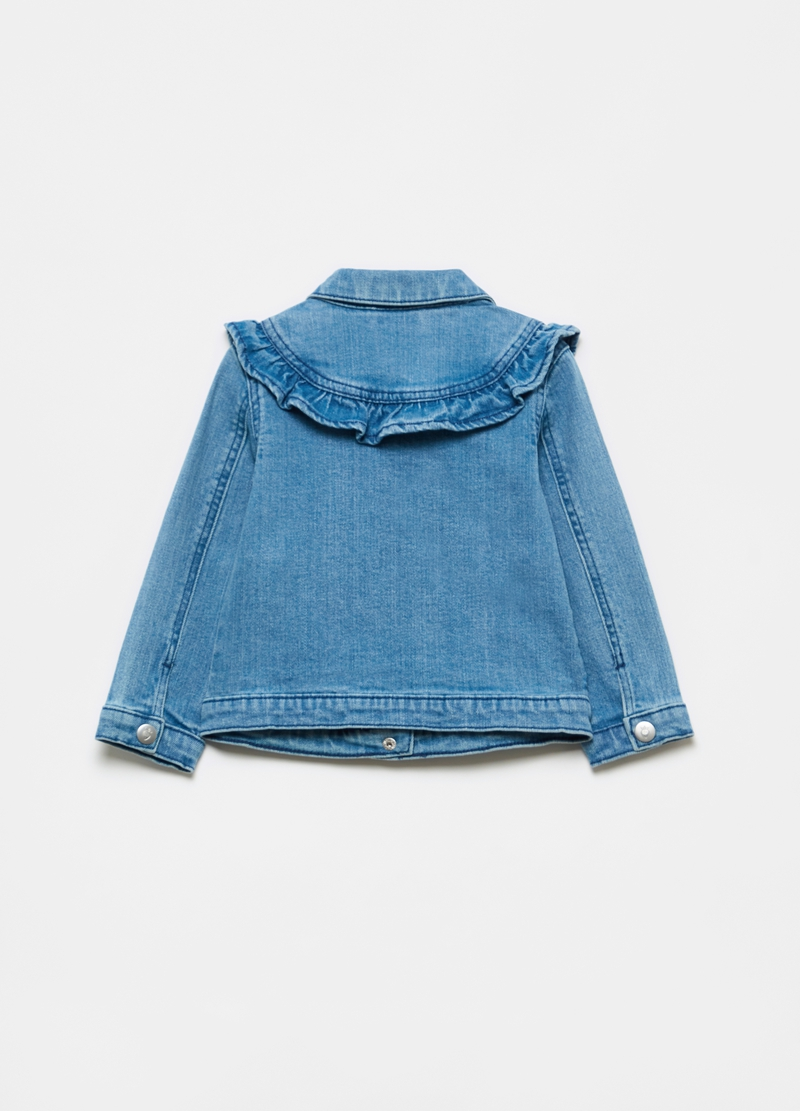 Denim jacket with frills image number null