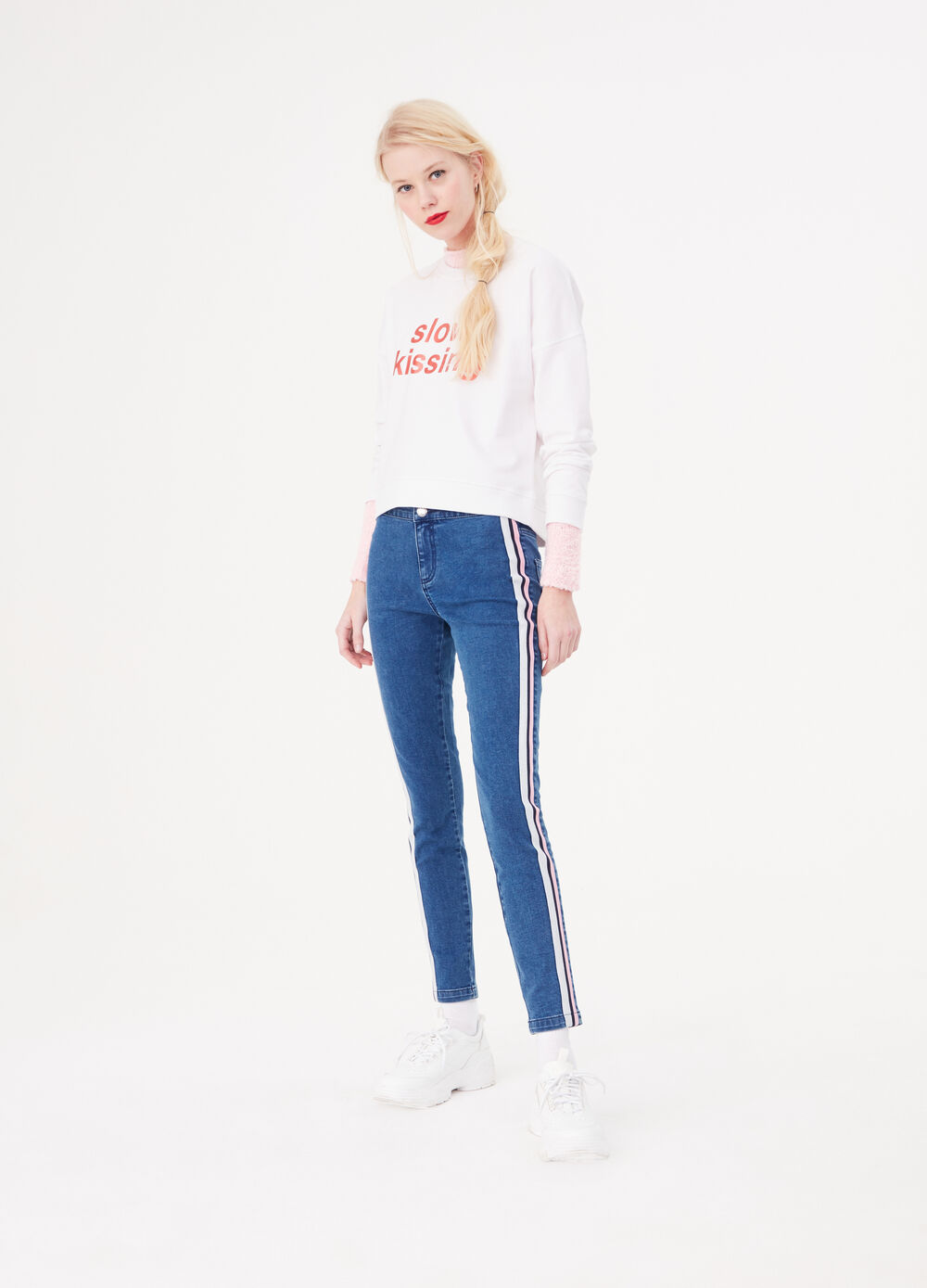 Jeans skinny con bande laterali lurex