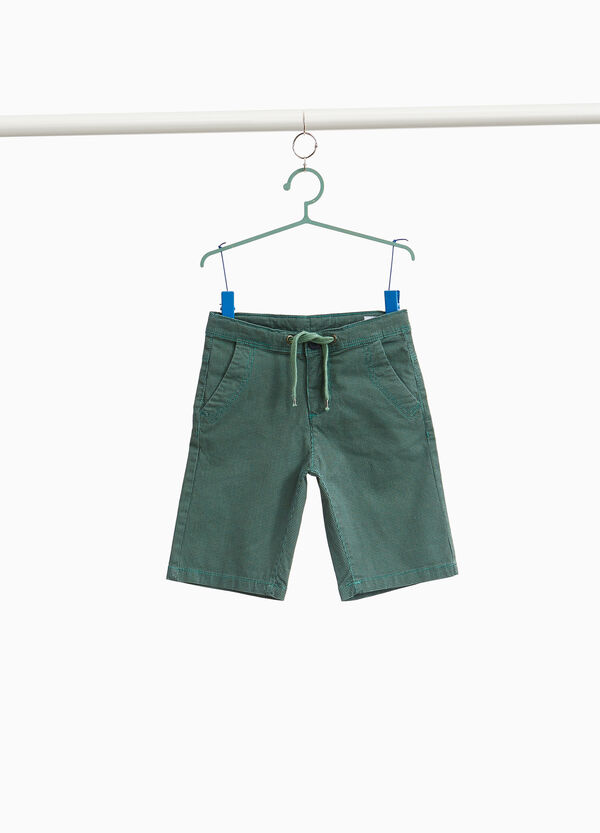 Stretch cotton Bermuda shorts with micro pattern