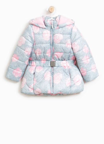 Jacket with hood and floral print