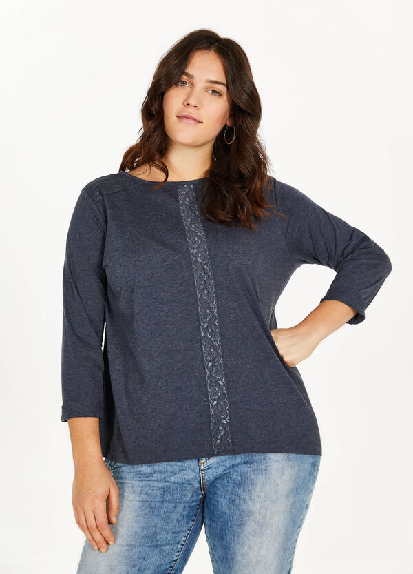 Curvy cotton blend T-shirt with lace