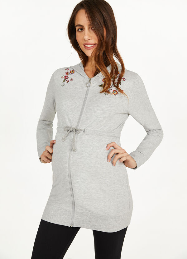MUM mélange sweatshirt with floral embroidery