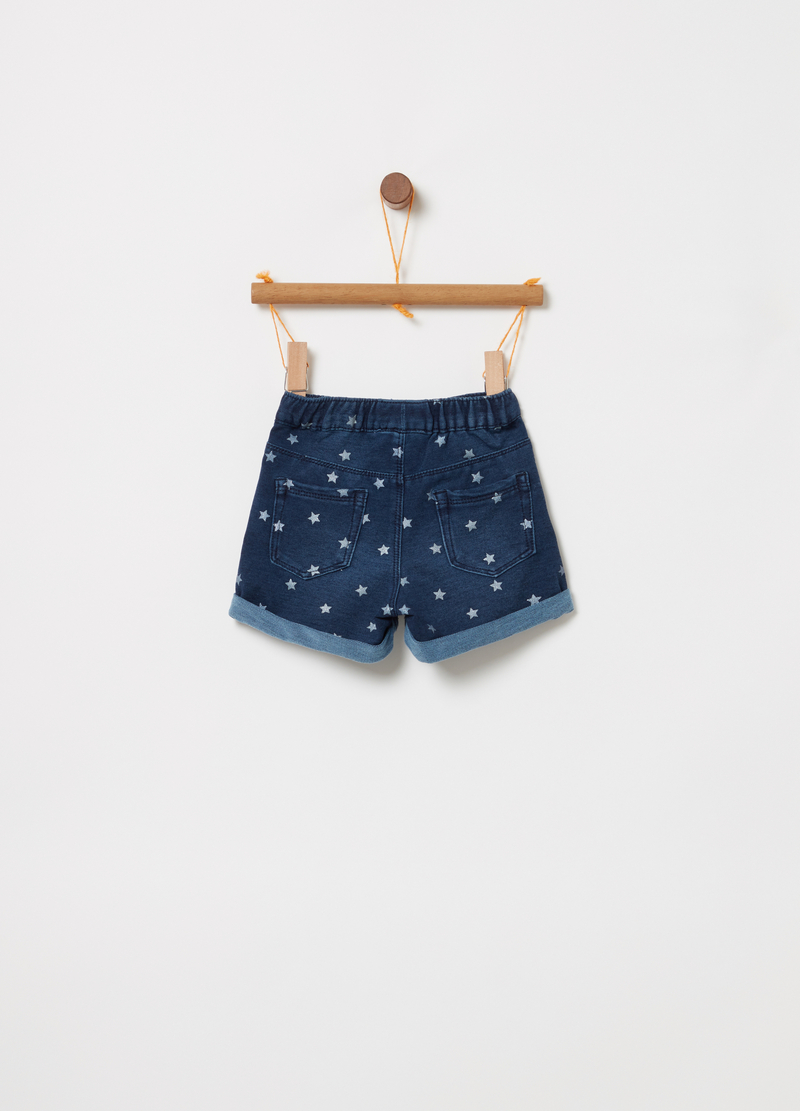 Denim shorts with elasticated waist and small stars image number null