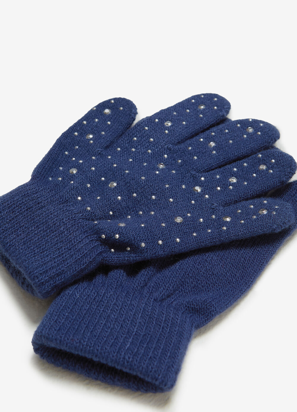 Solid colour gloves with studs