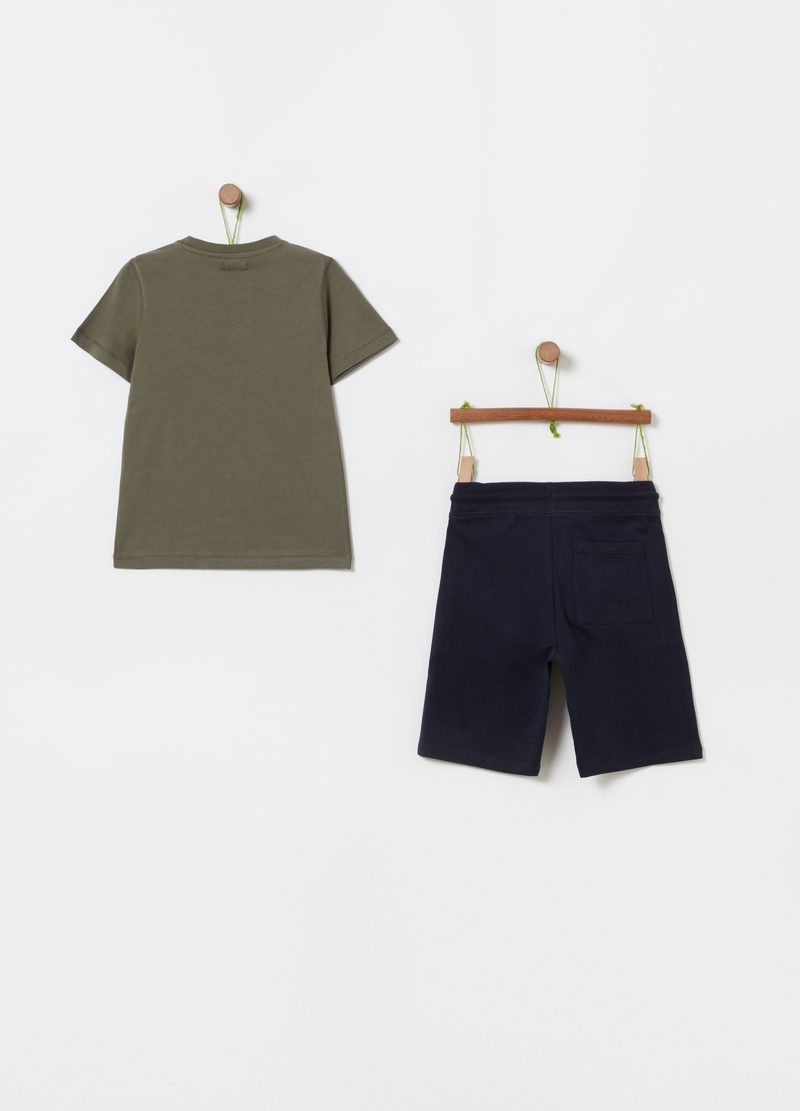 Jogging set with T-shirt and Bermuda shorts with print image number null