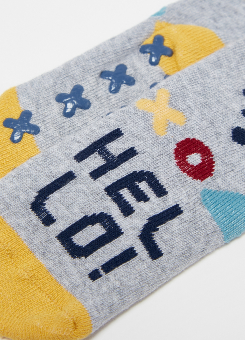 Two-pair pack slipper socks with robot print image number null