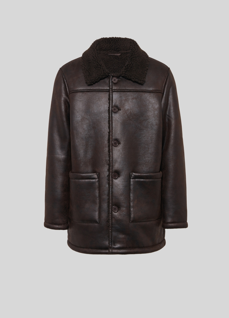 PIOMBO faux sheepskin jacket with pockets image number null