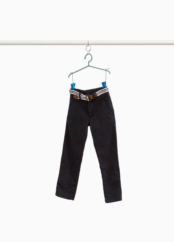 Stretch cotton trousers with belt