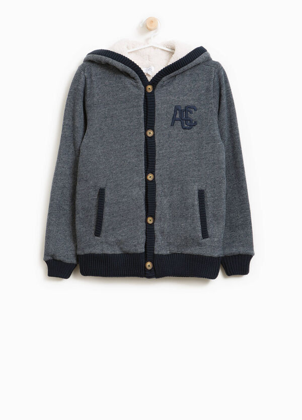 Cotton blend cardigan with hood