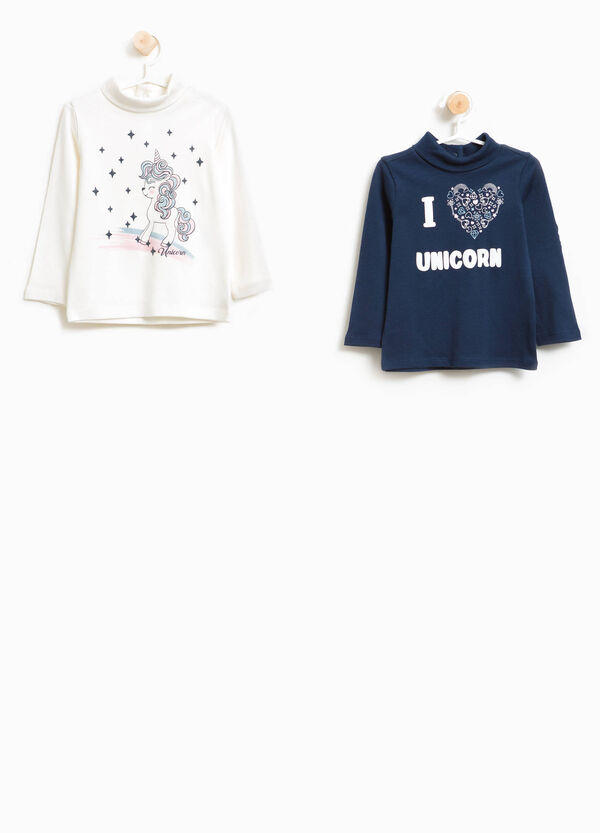 Two-pack cotton turtleneck jumper with unicorn print | OVS