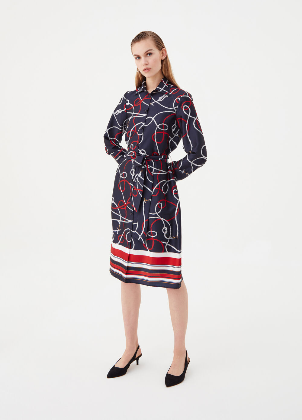 Dress with collar and patterned sash