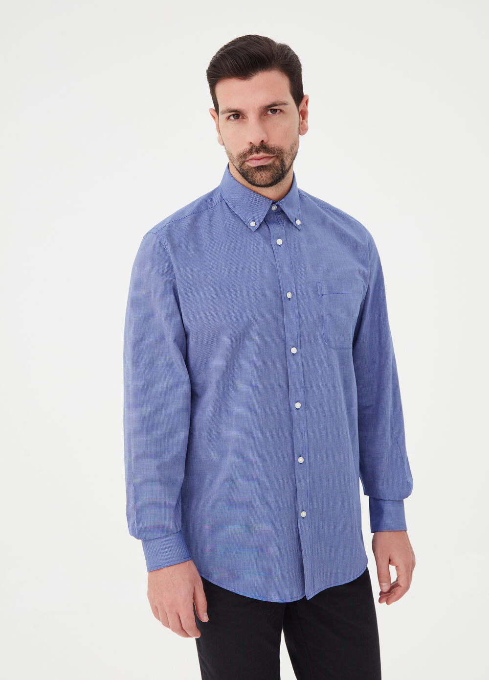 Regular-fit shirt in cotton blend poplin