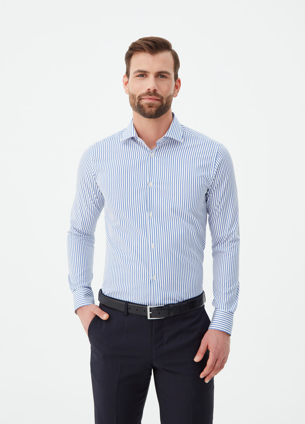 Striped compact weave cotton shirt