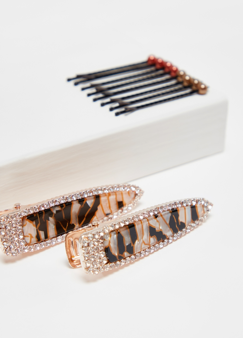 Set of eight hairpins and two clips image number null