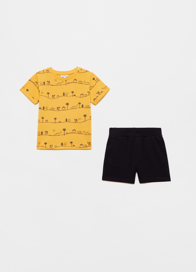 Short cotton jogging set with dinosaurs print image number null
