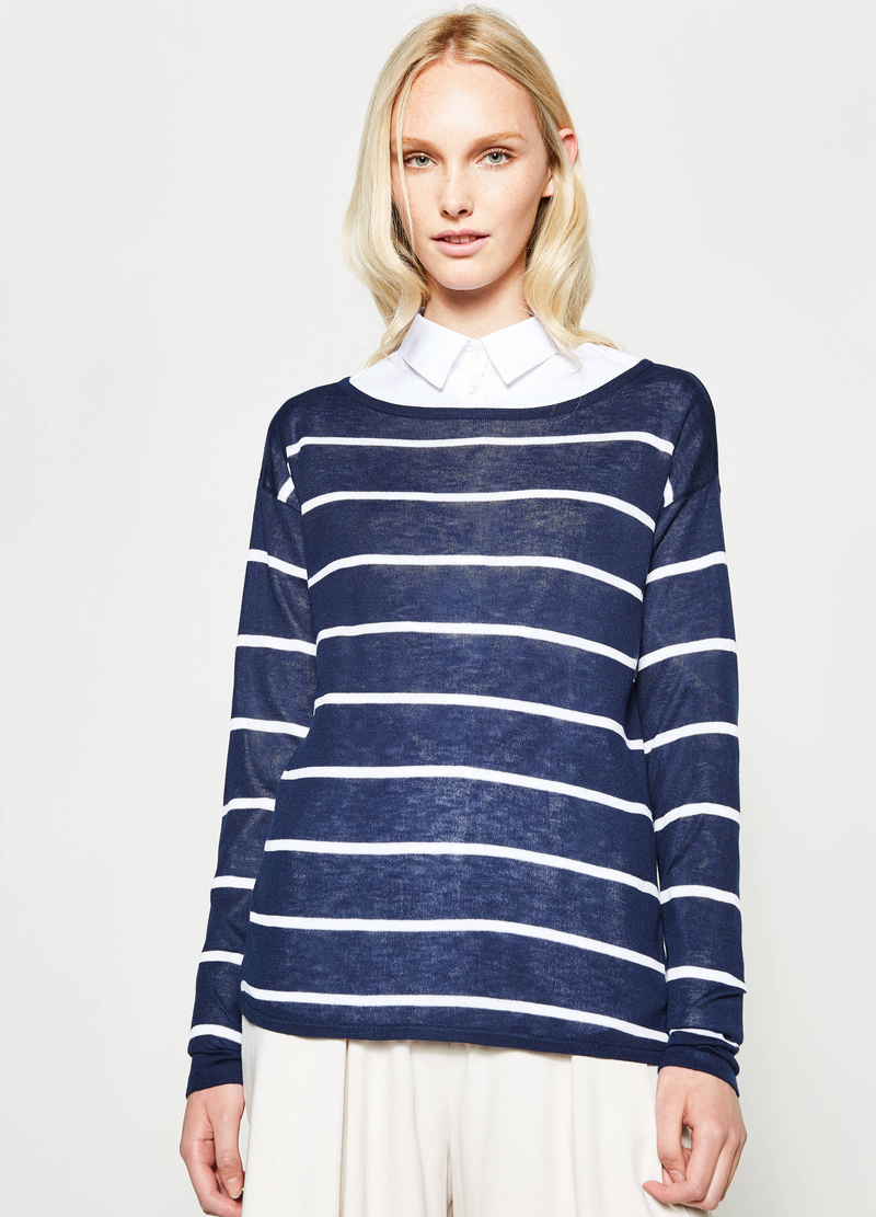 Pullover in viscosa a righe image number null