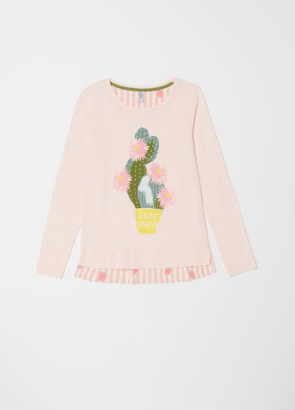 Pyjamas with top and trousers with cactus print