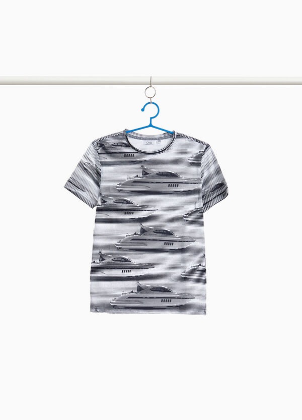 T-shirt with striped yacht pattern