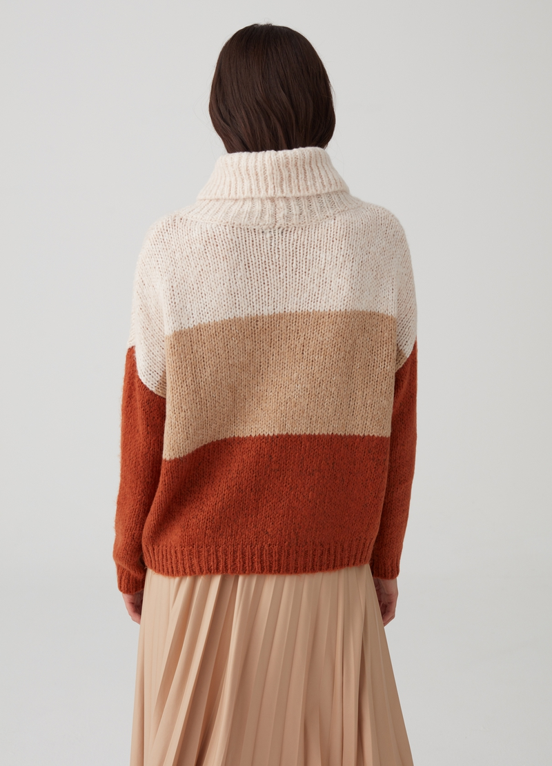 Knitted colourblock top with high neck image number null