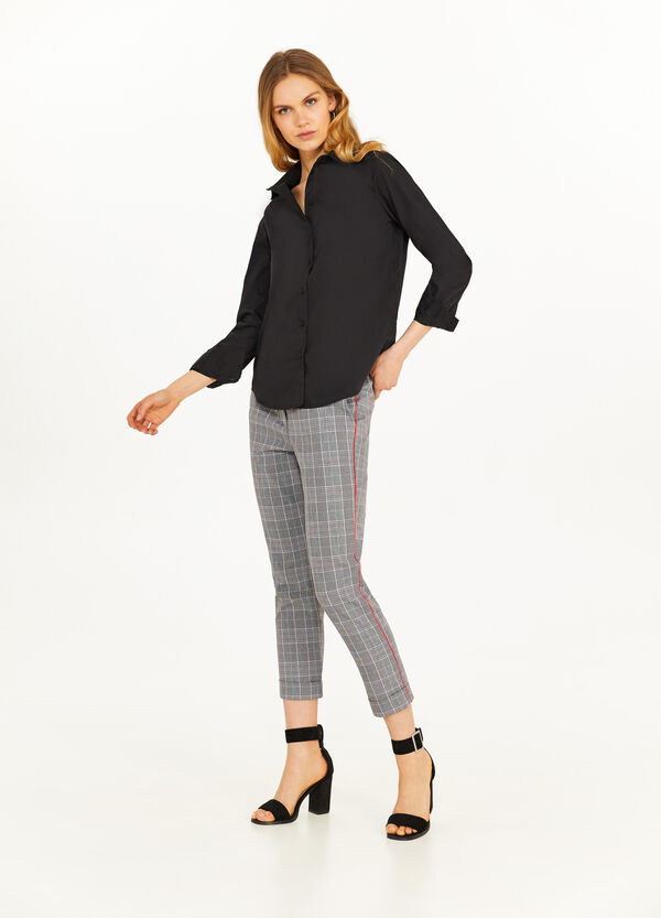 Stretch crop check trousers