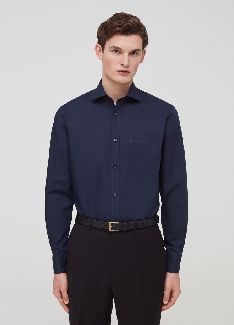 Solid colour regular-fit shirt with pocket image number null