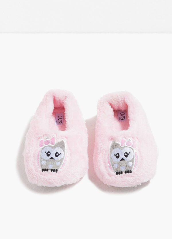 Fur slippers with patch | OVS