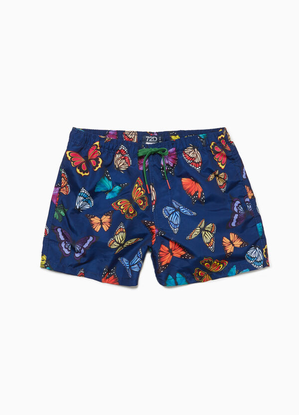 Butterfly patterned beach shorts