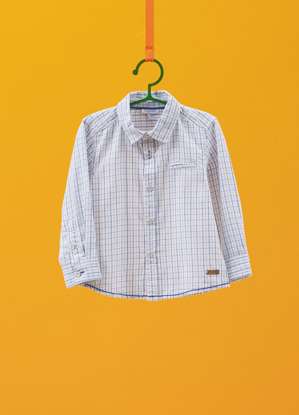 Cotton shirt with patches and cheks