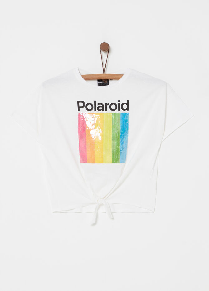 T-shirt with knot and Polaroid print