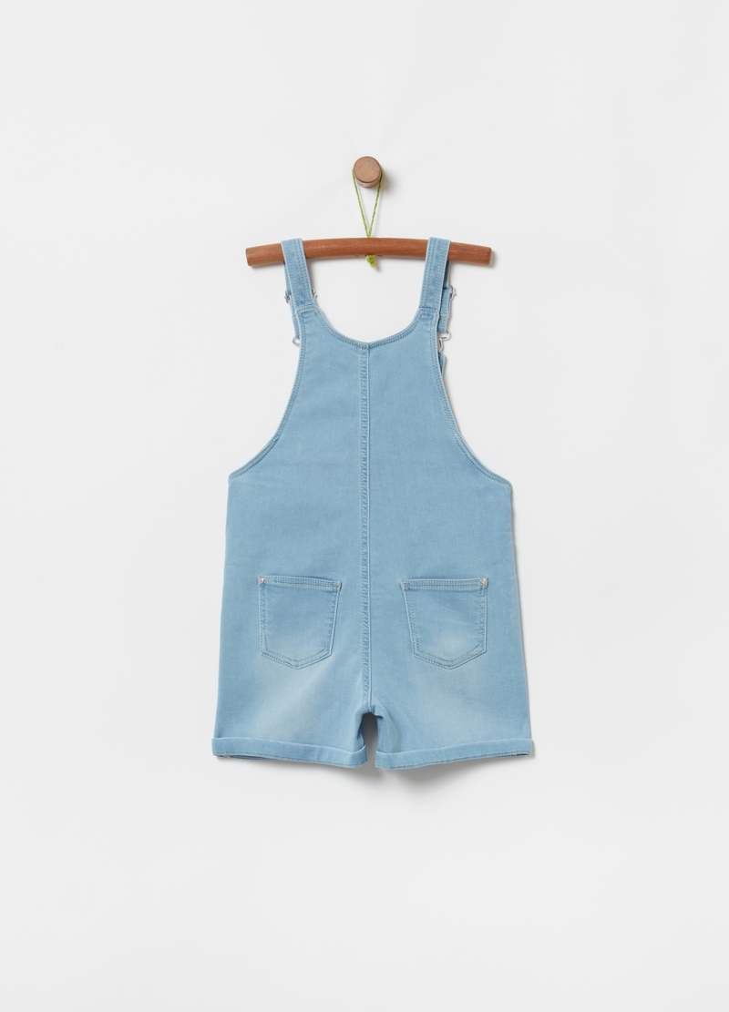 Short denim-effect dungarees image number null