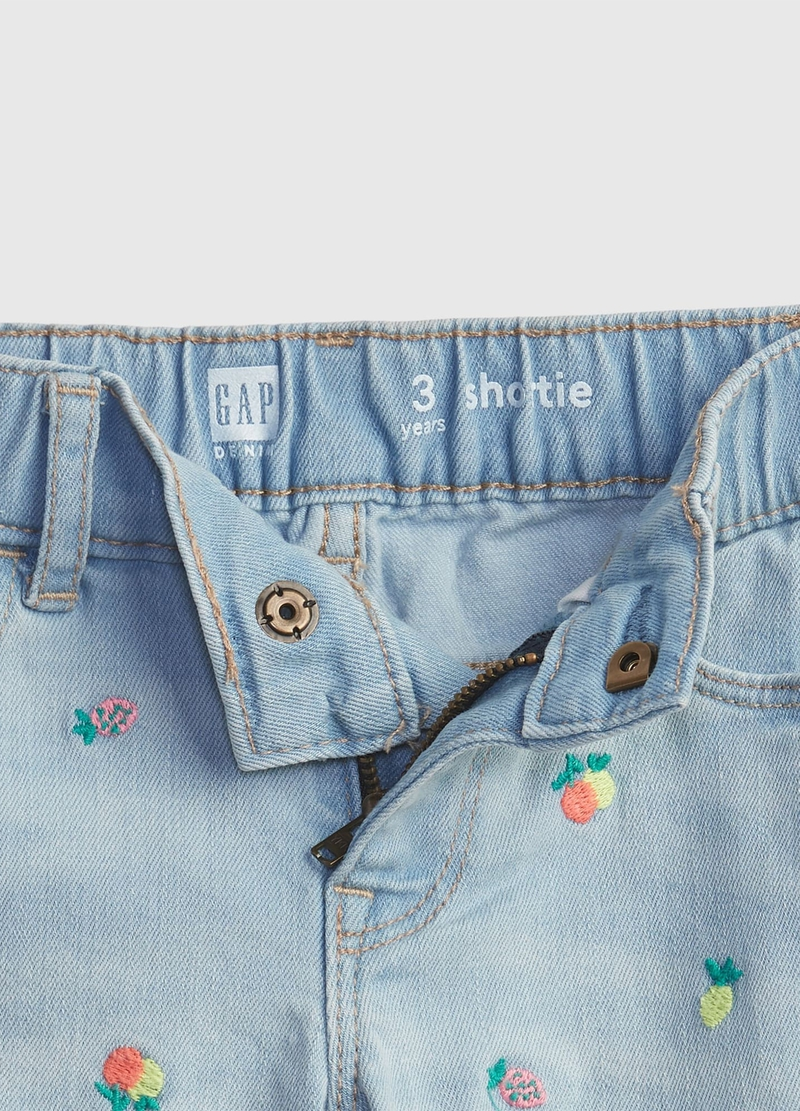 GAP denim shorts with all-over embroidery image number null