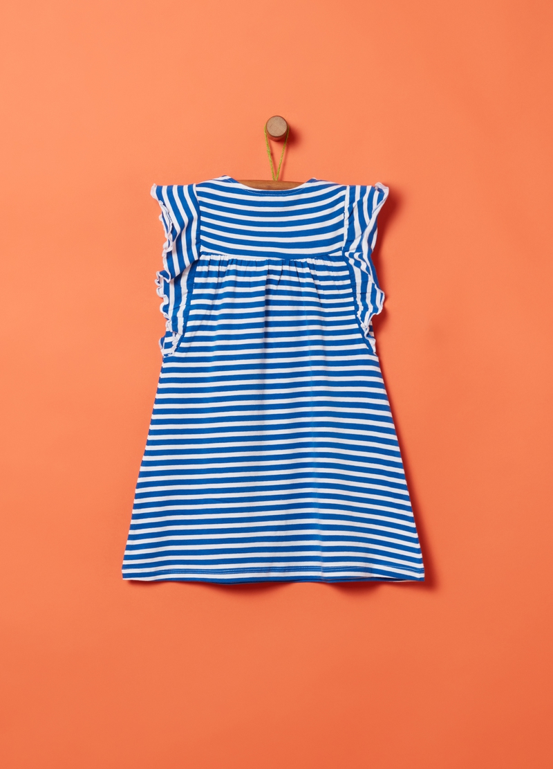 Dress with flounce and striped tassels image number null