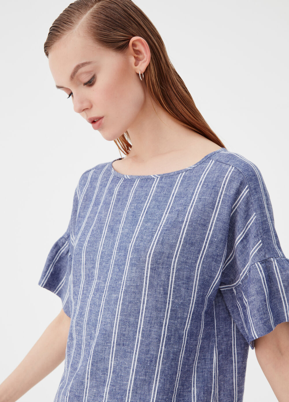 Linen and viscose blouse with striped flounces