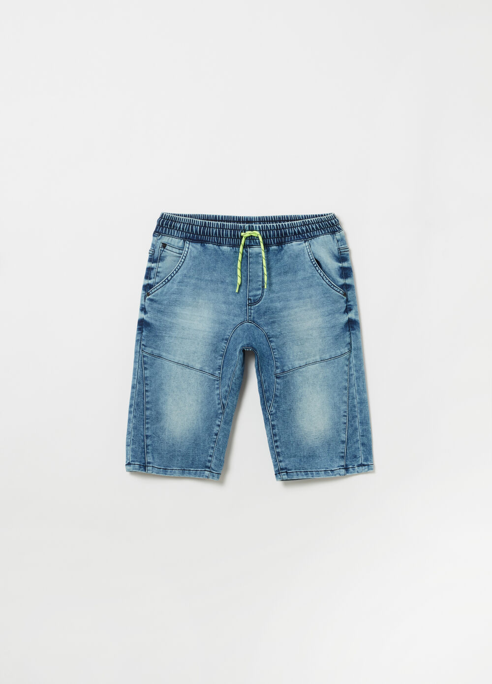 Jogger loose fit in denim con coulisse