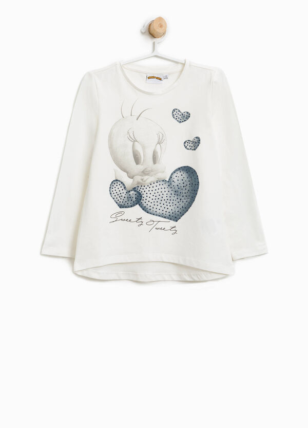 Stretch cotton T-shirt with Tweetie Pie print | OVS