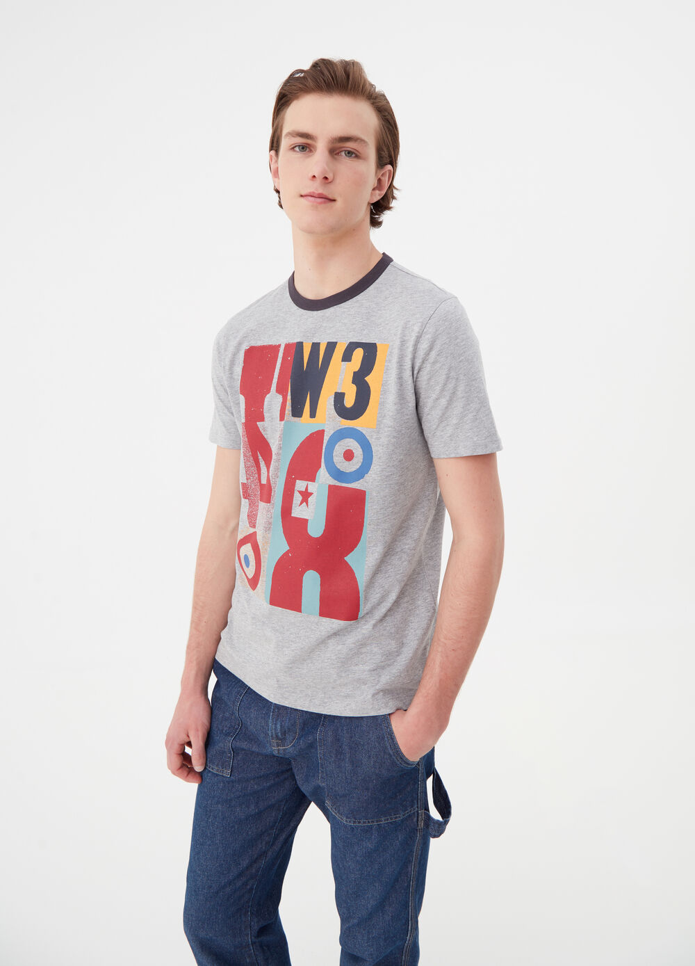 Printed T-shirt in viscose and cotton jersey