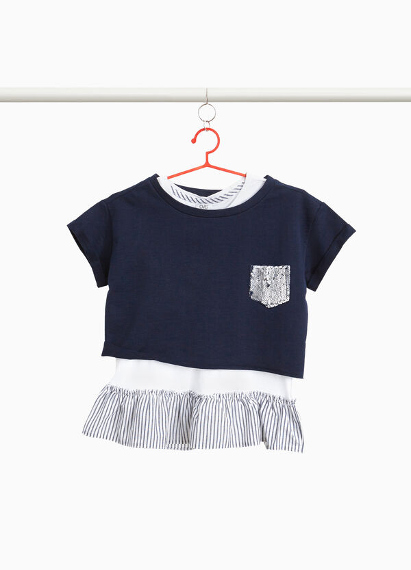Faux-layered crop T-shirt with flounce