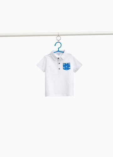 100% cotton polo shirt with patterned pocket