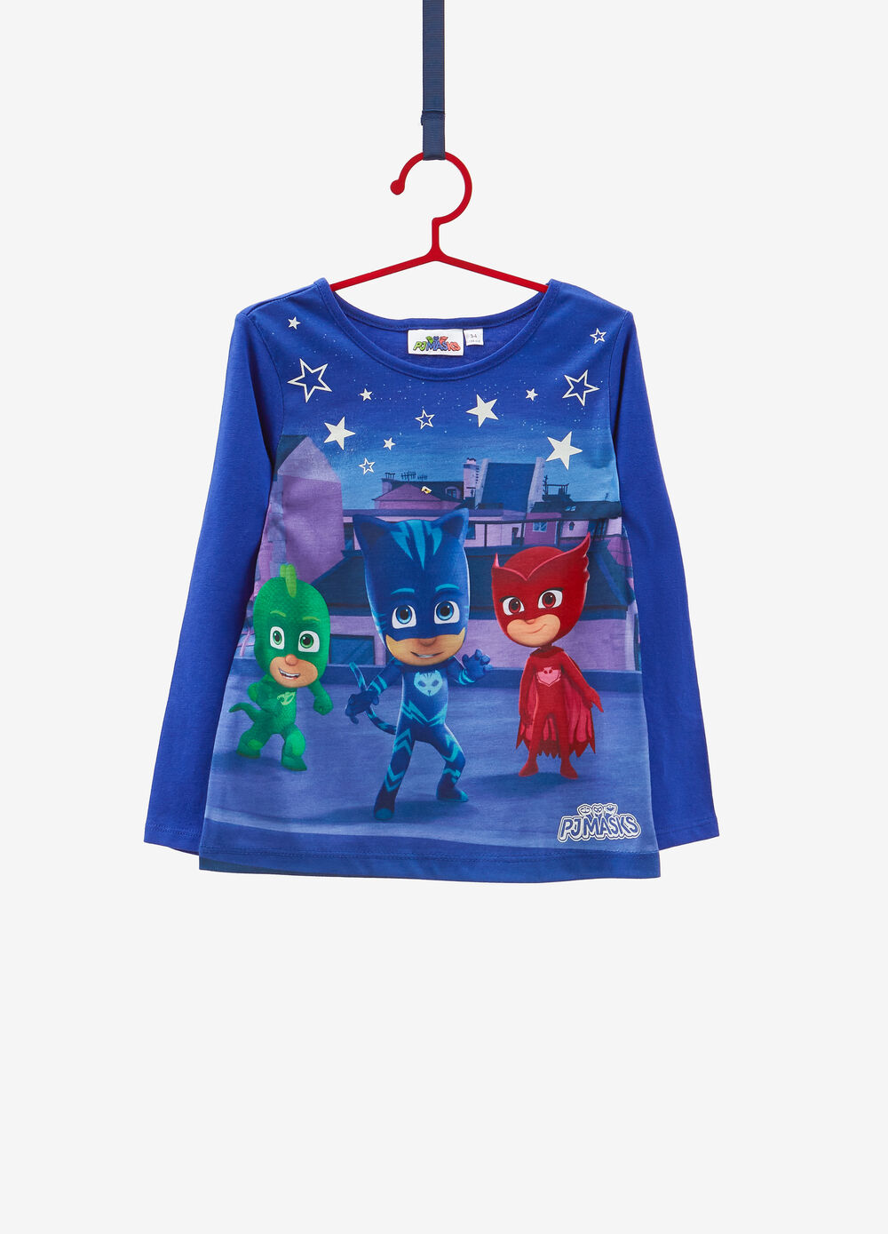 T-shirt cotone stretch maniche lunghe PJ Masks