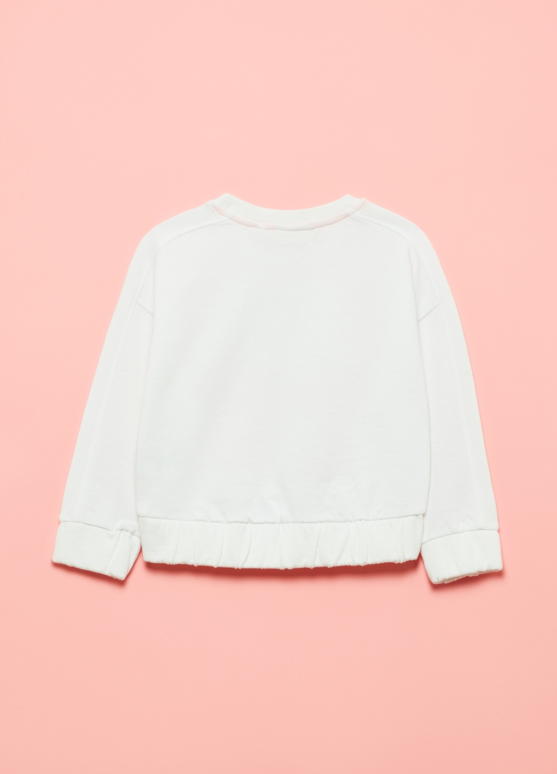 Cotton sweatshirt with lettering embroidery image number null